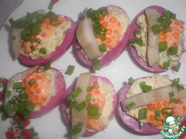 Фаршированные яйца селедкой рецепт фото