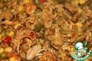 Готовим домашний рецепт с фото Валенсийская паэлья с морепродуктами и овощами