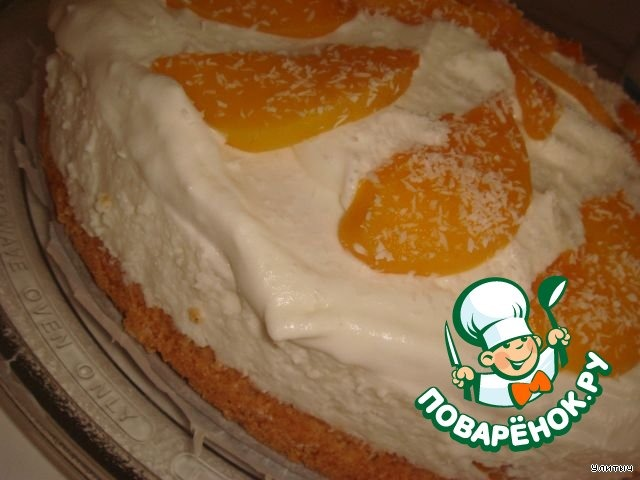 Творожный торт с персиками рецепт пошагово