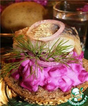 Рецепт Свекольная закуска с йогуртом, хреном и сельдью