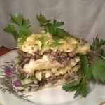 Макаронная запеканка с мясом и грибами