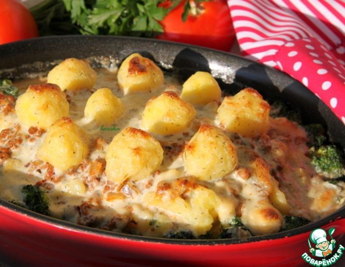 Рецепт: Мусака с брокколи и картофельным пюре