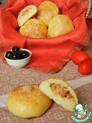 Рецепт Итальянские булочки с томатами, маскарпоне и маслинами
