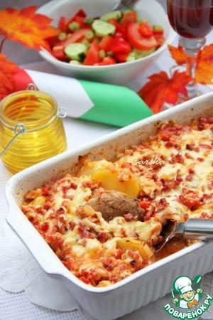 Рецепт Картофельный гратин со свиной вырезкой Lonza di maiale arrosto con patate gratinate
