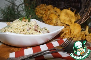 Рецепт Спагетти с лисичками в сливочном соусе