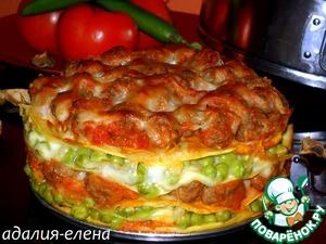 Рецепт Scrippelle с фрикадельками и зеленым горошком