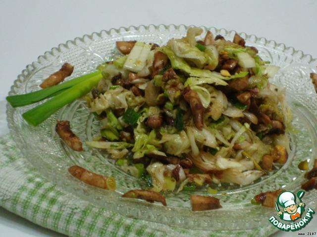 Рецепты салатов с шампиньонами и пекинской капустой рецепт