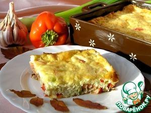 Рецепт Фриттата с лососем, сладким перцем и луком-пореем