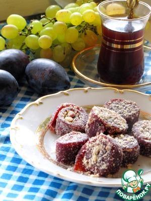 Рецепт Домашняя сливовая пастила с орехами
