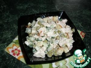 Рецепт Салат с копченой курочкой, зеленым горошком и гренками