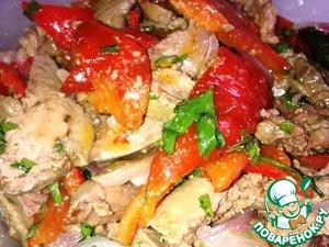 Рецепт Теплый салат с куриной печенью и печеным перцем