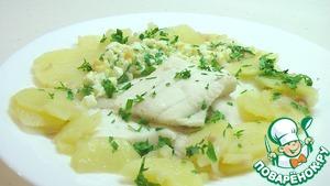 Рецепт Камбала отварная с картофелем и шпигом
