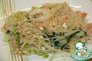 Рецепт Рисовая лапша с креветками и кальмарами