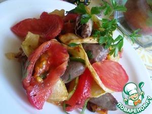 Рецепт Теплый салат с куриными сердечками и овощами