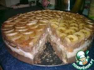 Рецепт Творожный торт с шоколадным пудингом и бананом