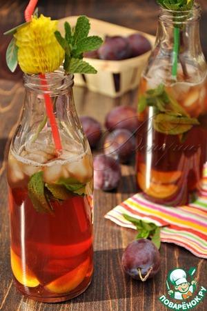 Рецепт Освежающий коктейль с лимонным чаем и сливовым сиропом