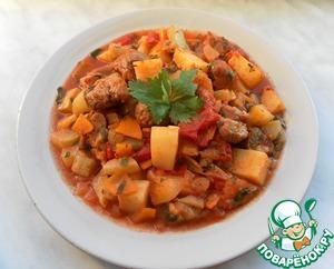 рагу с мясом и картошкой и овощами рецепт с фото