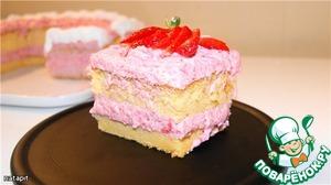 Рецепт Японский хлопковый бисквит с клубничным кремом
