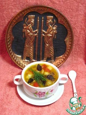 Рецепт Суп гороховый с яблоками, томатами и черносливом.