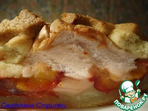 Рецепт Песочный пирог со сливами в розовой пенке