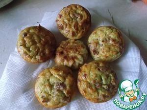 Рецепт Кабачковые кексы с луком и ветчиной