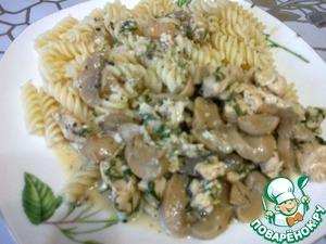 Рецепт Куриная грудка с грибами в нежном сливочном соусе