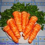 Морковь из слоеного теста с салатом