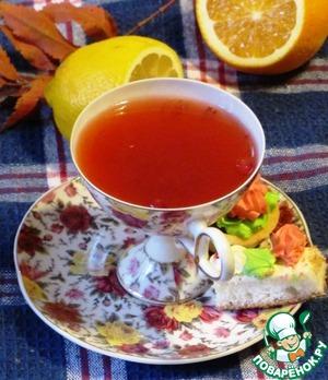 Рецепт Клюквенный чай с цитрусовыми
