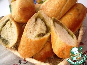 Рецепт Домашние мини-багеты с мукой из геркулеса и многозерновых хлопьев с сальсой из базилика с кешью и чесноком