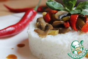 Рецепт Цуккини с грибами и рисом