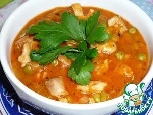 Рецепт Гуляш из курицы с зеленым горошком