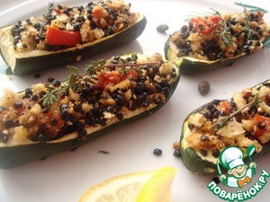 Рецепт Цуккини, фаршированные черной чечевицей и хлебными крошками