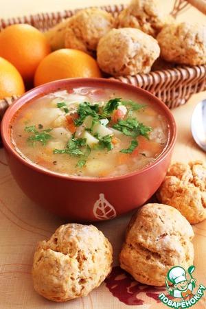 Рецепт Пшенный суп с томатно-чесночными булочками