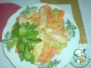 Рецепт Овощная лапша с филе цыпленка в сливочном соусе с соком и цедрой апельсина