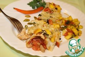 Рецепт Энчилады с цыпленком и фасолью под сальсой из манго