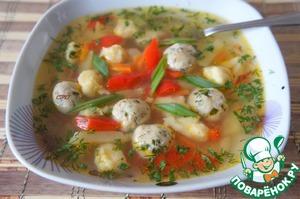 """Рецепт Суп с фрикадельками и клецками """"Весенний"""""""