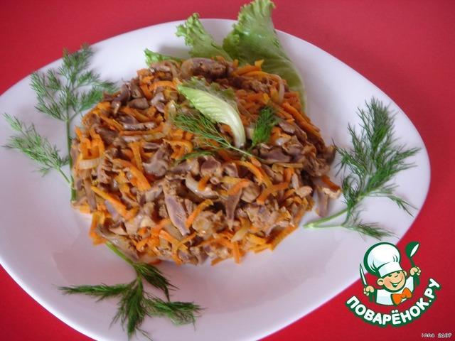 Салат из куриных желудков рецепт с луком