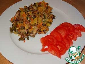 Рецепт Нежный картофель с шампиньонами и стручковой фасолью