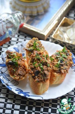 Рецепт Омлет с грибами и куриной печенкой