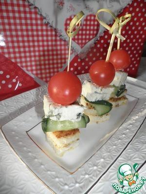 Рецепт Канапе с голубым сыром и черри
