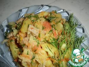 Рецепт Картофель с капустой и болгарским перцем в мультиварке