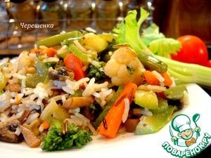 Рецепт Смесь белого и дикого риса с овощами и грибами