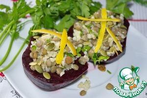 Рецепт Салат из чечевицы и булгура в свекле