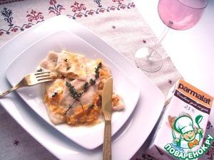 Рецепт Равиолли с тыквой, яблоком и творогом под соусом из тыквы со сливками и коричневым сахаром