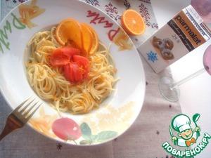 Рецепт Спагетти со сливочным соусом с апельсином, ванилью и малосольной форелью