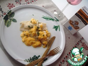 Рецепт Равиолли с курицей и творогом под соусом из тыквы, сливок и тимьяна