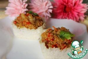 Рецепт Киноа с овощами и имбирным соусом в рисовых корзиночках