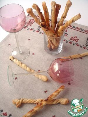 Рецепт Гриссини из слоеного теста с анчоусами и коричневым сахаром