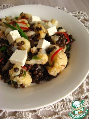 Рецепт Салат из цветной капусты с чечевицей и тофу