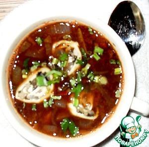 Рецепт Чечевичный томатный суп с грибными рулетиками